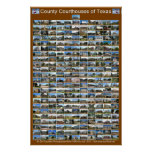 Texas County Courthouses Poster (brown vertical)