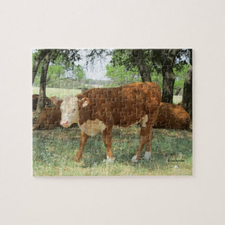Texas Cow in Pasture Jigsaw Puzzle