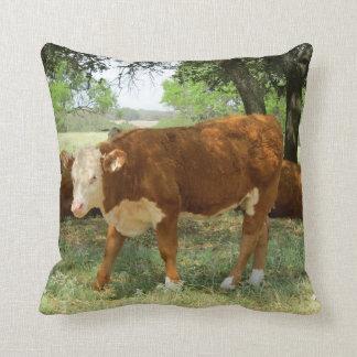 Texas Cow Throw Pillow