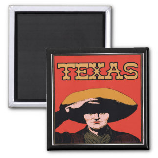 Texas Cowboy 2 Inch Square Magnet