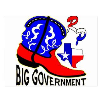 Texas Cowboy Boot Crushing Big Government Postcard