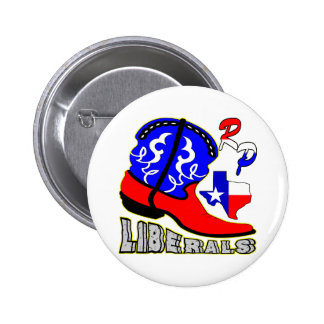 Texas Cowboy Boot Crushing Liberals Button