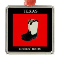 Texas Cowboy Boots 2 .jpg Metal Ornament