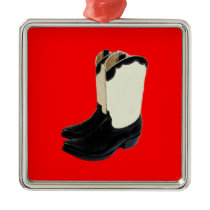 Texas Cowboy Boots 2 .jpg Metal Ornament
