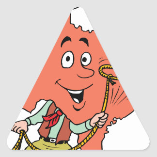texas cowboy cartoon triangle sticker