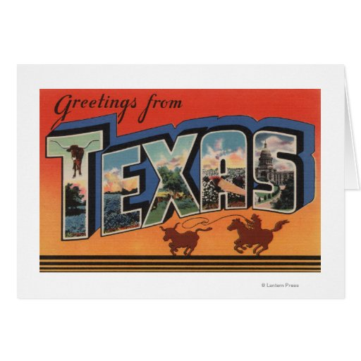 Texas (Cowboy Roping Bull)Large Letter Scenes Card