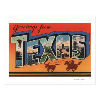 Texas (Cowboy Roping Bull)Large Letter Scenes Post Cards