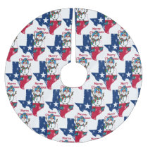 Texas Cowboy Snowman Merry Christmas Y'all Brushed Polyester Tree Skirt