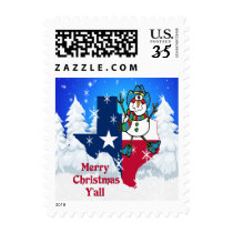 Texas Cowboy Snowman Merry Christmas Y'all Postage
