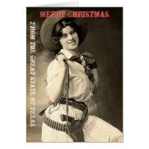 Texas Cowgirl Christmas Greetings Card