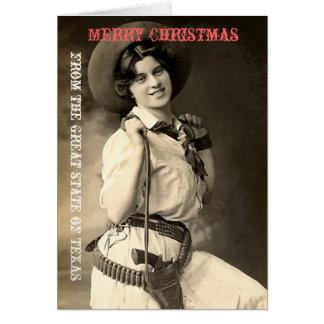 Texas Cowgirl Christmas Greetings Greeting Card