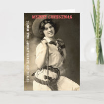 Texas Cowgirl Christmas Greetings Holiday Card