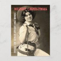 Texas Cowgirl Christmas Greetings Holiday Postcard