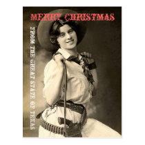 Texas Cowgirl Christmas Greetings Postcard