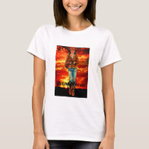 Texas Cowgirl T-Shirt Art with Sunset