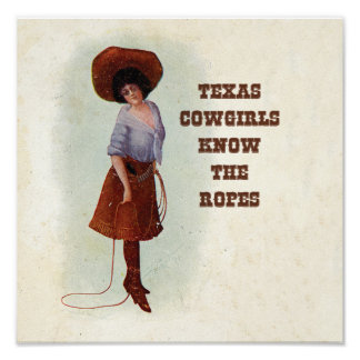 Texas Cowgirls Know the Ropes Vintage Art Poster