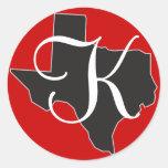 Texas Custom Monogram Initial on State Outline Classic Round Sticker