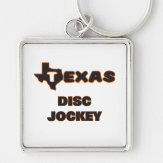 Texas Disc Jockey Silver-Colored Square Keychain