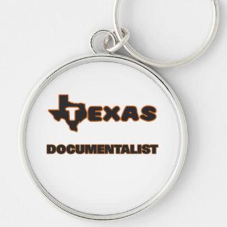 Texas Documentalist Silver-Colored Round Keychain