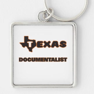 Texas Documentalist Silver-Colored Square Keychain