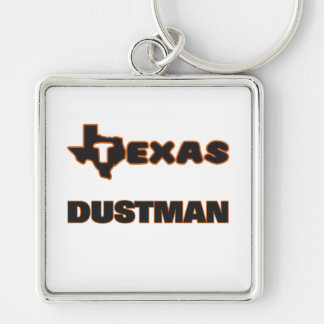 Texas Dustman Silver-Colored Square Keychain