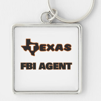 Texas Fbi Agent Silver-Colored Square Keychain