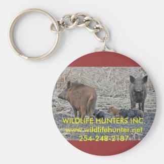 texas-feral-hog-regulations, WILDLIFE HUNTERS I... Basic Round Button Keychain