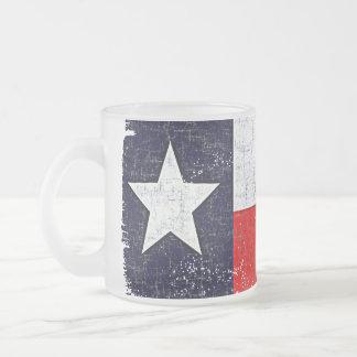 TEXAS FLAG AGED FROSTED GLASS COFFEE MUG
