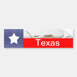 Texas Flag and Horns on white Bumper Sticker