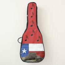 Texas Flag, Cowboy Hat Gun Spurs and Musical Notes Guitar Case