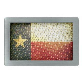 Texas Flag Diamond plated gear Rectangular Belt Buckle