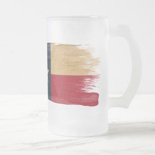 Texas Flag Frosted Glass Beer Mug