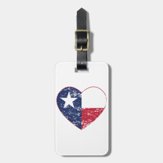 Texas Flag Heart Distressed Luggage Tags