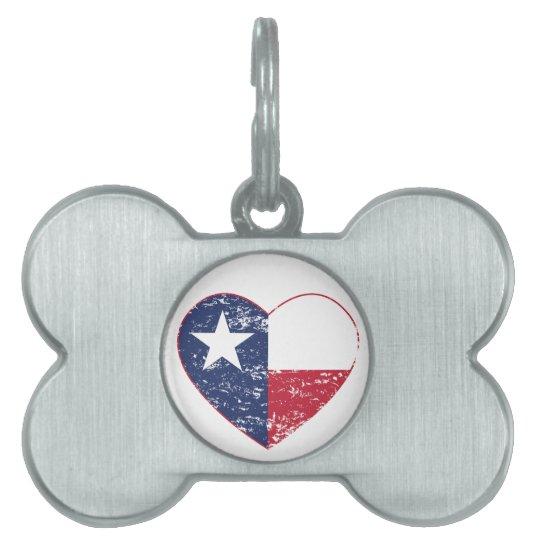 Texas Flag Heart Distressed Pet Name Tag