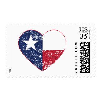 Texas Flag Heart Distressed Postage