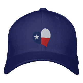 Texas Flag Heart Embroidered Hat