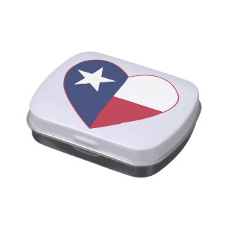 Texas Flag Heart Jelly Belly Candy Tins