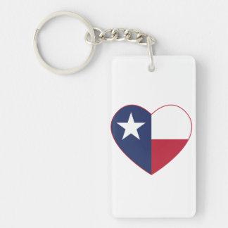 Texas Flag Heart Double-Sided Rectangular Acrylic Keychain