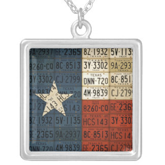Texas Flag License Plate Art Lone Star State Square Pendant Necklace