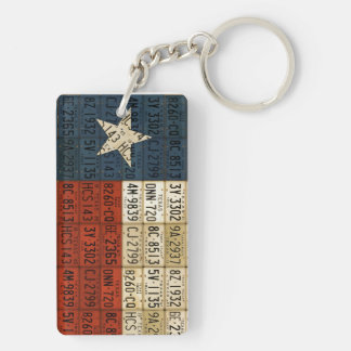 Texas Flag Lone Star State License Plate Art Chain Double-Sided Rectangular Acrylic Keychain