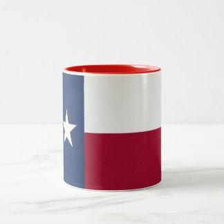 Texas Flag lone star state red white blue colors Two-Tone Coffee Mug