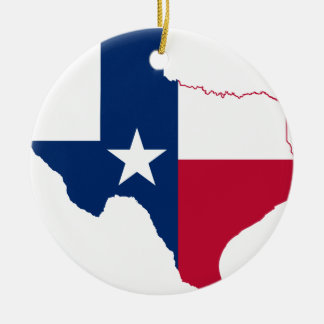 Texas flag map ceramic ornament