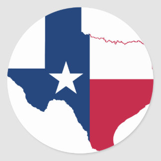 Texas flag map classic round sticker