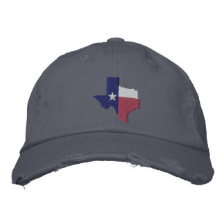 Texas Flag Map Embroidered Baseball Cap