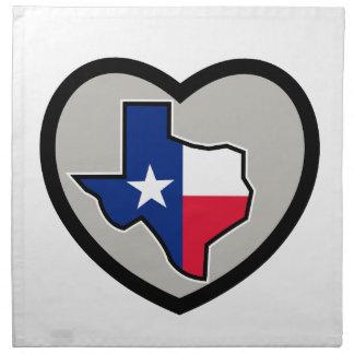 Texas Flag Map Inside Heart Icon Cloth Napkin