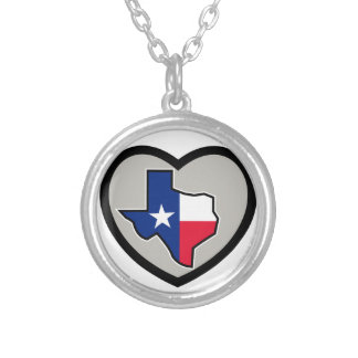 Texas Flag Map Inside Heart Icon Silver Plated Necklace