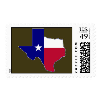 Texas Flag Map Postage Stamp