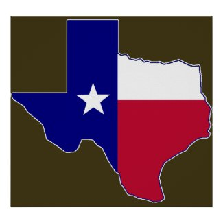 Texas Flag Map Print