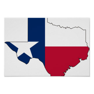 Texas Flag Map Poster