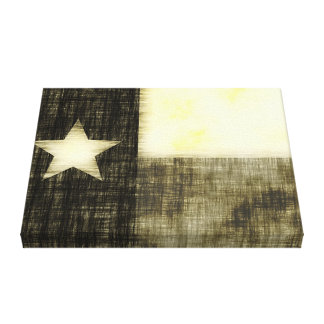 TEXAS FLAG OLD DRAWING CANVAS PRINT